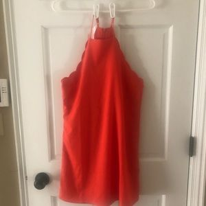 LULUS ENDLESSLY ENDEARING CORAL RED DRESS XS